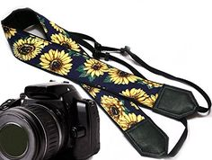 InTePro padded sunflower design camera strap Yellow blossoms camera strap Yellow flowers DSLR  SLR Camera Strap -- Learn more by visiting the image link. (Note:Amazon affiliate link)
