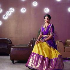 Image may contain: 1 person Pattu Saree Blouse Designs, Half Saree Designs, Saree Blouse Patterns, Lehenga Designs, Dress Designs, Half Saree Lehenga, Bridal Lehenga, Long Gown Dress, Long Dresses