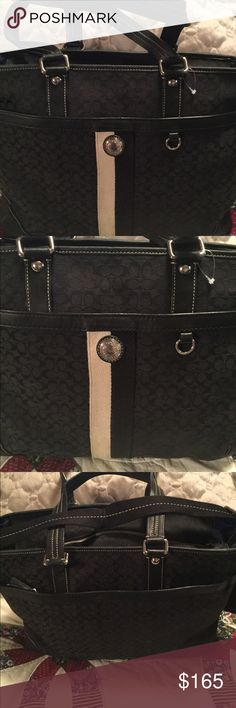 Coach Voyager diaper bag Coach voyager diaper bag nice condition little dirt on bottom and front n inside ...leather scuffs inside one pocket was remove to make it a tote price reflects issues Coach Bags Totes