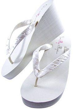 f67b7d29f1ee12 Bridal Flip Flops Womens Bridal Wedding Platform Heel Satin Flip Flops White  6 M US -