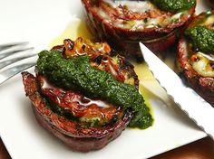 Grilled Stuffed Flank Steak With Pesto, Mozzarella, and Prosciutto
