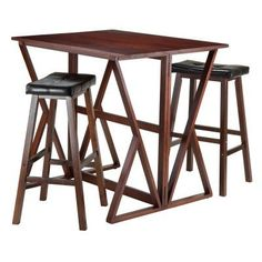 Winsome Trading Harrington 3 Piece Counter Height Dining Table Set with 29 in. Saddle Seat Stools - 94361
