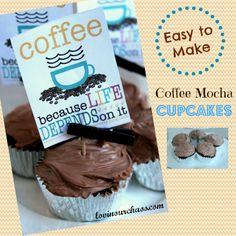 Easy to Make Coffee Mocha Cupcakes No Bake Desserts, Delicious Desserts, Dessert Recipes, Mocha Coffee, Chocolate Coffee, Good Food, Yummy Food, Fun Food, Skinny Cheesecake
