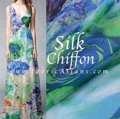 Evening Dress Idea. Blue Rose Chiffon. Blue Rose Silk by fabricAsians