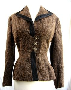 LILLI ANN Suit Jacket. Nipped Waist, Peplum. Black and Copper Boucle Fabric. Late 1940s - very early 1950s