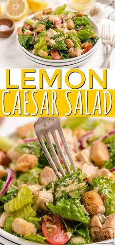 Lemon Caesar Salad is a simple and classic caesar salad recipe with a refreshing, homemade lemon caesar dressing. Serve as a side salad or add grilled chicken to make it an entree! Side Recipes, Healthy Salad Recipes, Vegetarian Recipes, Cooking Recipes, Easy Summer Salads, Easy Salads, Grilled Chicken Strips, Classic Caesar Salad, Incredible Recipes