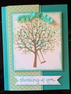 -- designed by Sherrie Thomas Parker Sheltering Tree stamp set, Stampin' Up! Accessories: Coastal Cabana and Bermuda Bay card stock and ink, Pistachio Pudding and Baked Brown Sugar ink, Coastal Cabana ruffled ribbon, Dazzling Diamonds glitter, In Color Designer Series Paper