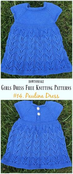 Paulina Dress Free Knitting Pattern - Little Girls Free Patterns Little Girls Dress Free Knitting Patterns: Collection of Knit Baby girl and little girls dress, sweater tunic dress, Sweater Top and Baby Dress Pattern Free, Baby Cardigan Knitting Pattern Free, Baby Knitting Patterns, Free Pattern, Crochet Patterns, Knitting Ideas, Girls Knitted Dress, Knit Baby Dress, Knitted Baby Clothes
