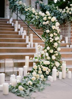 8 Best Ways to Decorate Wedding Stairs, candles and greenery wedding stairs, spring weddings Wedding Ceremony Ideas, Ceremony Backdrop, Ceremony Decorations, Wedding Receptions, Candle Decorations, Wedding Themes, Wedding Staircase Decoration, Wedding Stairs, Wedding Entrance