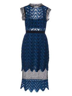 new products 94cc8 cafac Open-back wave-lace midi dress   Self-portrait   MATCHESFASHION.COM