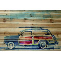 ParvezTaj Surf Day Painting Print on Natural Pine Wood & Reviews | Wayfair