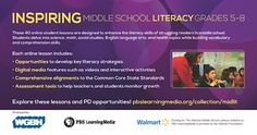 TEACHERS: Are you looking for new ways to enhance the literacy skills of struggling readers? Explore the Middle School Literacy Collection of FREE online lessons for blended learning, funded by the Walmart Foundation. http://www.pbslearningmedia.org/collection/midlit/?utm_source=SocialMedia_medium=site_campaign=mktg_2013%C2%A0