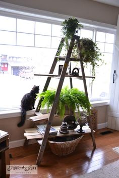 Create a ladder plant stand in minutes! via Funky Junk Interiors, part of a full home JUNK tour.