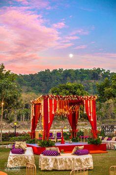 Wedding Decor - Varun & Akshata | WedMeGood | Red and Purple Set Up with a Red and Gold Mandap #wedmegood #indianbride #indianwedding #indianmandap #mandap #red #indiandecor #decor #corbett
