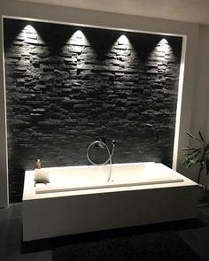 Bathroom Style #steinwand   #selfmade   #einbaustrahler   #chillmodusan   #bath   #bathroomdesign   #bathroom   #feierabend   #neubau   #hausbau   #einfamilienhaus   #stadtvilla