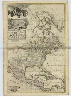 """Decorative map of North America, 1715  Map of North America by George Willdey.  The map shows an ornate decorative title and dedicatory cartouche with portrait of George I supported by classical figures in top left corner.    Includes advertisement to George Willdey's """"Great Toy Shop"""" with engraved pictures of the nécessaires, implements and scientific instruments sold there."""