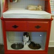 Pet Station Created From Vintage Secretary Desk