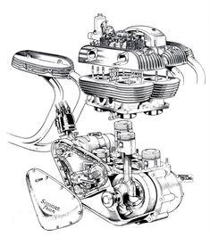 exploded engine diagrams blueprints schematics ariel square four engine cutaway