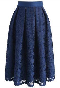 Twirl My Dearest Lace Midi Skirt in Navy