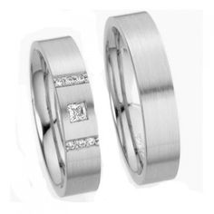 10k White Gold Satin His Hers Wedding Rings 0.15 Carat Princess & Round Diamond 5mm 03582