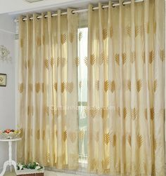 Fabulous Leaf Patterns Embroidery Bedroom Blackout Yellow Gold Curtains