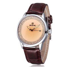 51ff8e521c2 SKONE Brand Popular Watches Women Fashion Rhinestone Dress Watch Ladies  Casual Leather Strap Quartz Wristwatches Time