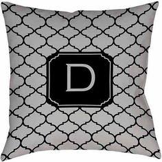 Thumbprintz Moroccan Monogram Grey Decorative Pillows, Gray
