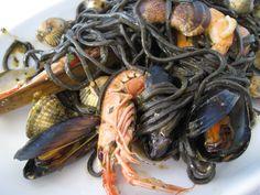 Squid Ink seafood pasta, Cinque Terre, Italy