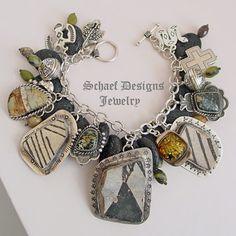 Schaef Designs anasazi pottery shards, amber, new lander, sterling silver charm bracelet | New Mexico