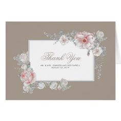 Pink White Floral Elegant Wedding Thank You Card - romantic gifts ideas love beautiful