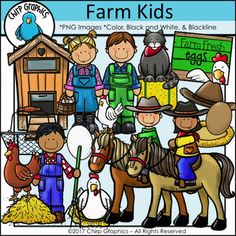 Farm clip art featuring images of a henhouse, kids riding horses, kids collecting eggs and more!  Color, blackline, and black and white versions included. https://www.teacherspayteachers.com/Product/Farm-Kids-Clip-Art-Set-Chirp-Graphics-2987095