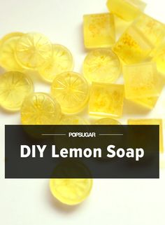 Use Lemon Rinds to Make Adorable Soaps Instead of tossing lemon rinds, use for making supercute lemon soaps. Usually tossed in the trash, lemon zest brightens basic glycerin soap for an invigorating cleaner that also leaves hands nice and soft. Homemade Soap Recipes, Homemade Gifts, Diy Gifts, Homemade Beauty, Diy Beauty, Beauty Soap, Lemon Soap, Glycerin Soap, Castile Soap