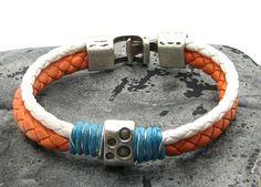 FREE SHIPPING. Men's leather bracelet. Orange and by eliziatelye, $31.00