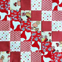 Block 21 #scrappytripalong, red. With a treasured piece of #kokka #toadstool #fabric by The Land of the Raspberry Rainbow, via Flickr