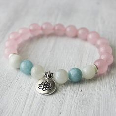 Rose Quartz Moonstone Aquamarine Lotus Healing Bracelet