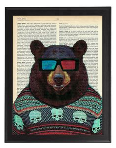 Bear in 3D glasses - vintage dictionary animal artwork, Bear Wall Decor, Bear Hipster Art Print, Animal Bear Painting, Nursery Wall Art on Etsy, $10.48
