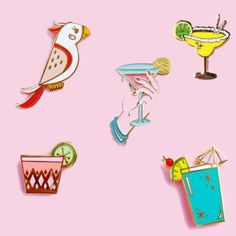 Home & Garden Apparel Sewing & Fabric 1pc Cartoon Summer Drinks Parrot Metal Brooch Button Pins Denim Jacket Pin Jewelry Decoration Badge For Clothes Lapel Pins