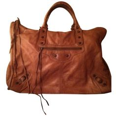 Pre-owned Balenciaga Just Reduced Price - Large Weekender Tote In Excellent Cond featuring polyvore, fashion, bags, handbags, tote bags, cognac brown, brown leather handbags, leather handbags, brown tote, weekender bag and weekender tote