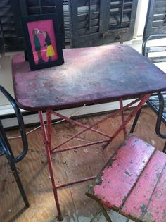 Vintage Antique French Bistro Cafe Folding Table Iron and Old PINK Paint