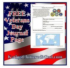Free Veterans Day Journal Page Printable + More Veterans Day Homeschool Freebies!