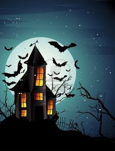 Haunted House Bats Giant Moon