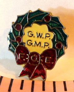 #FraternalOrderEagles #FOE #ChristmasWreath  G.W.P. and G.M.P. Pinback #FraternityPin