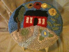 Wool Rug Punched Chair Pad, Table Cover, Centerpiece, French Country