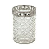 6 Pack -Diamond Etched Glass Candle Holder W/ Silver Trim - Small