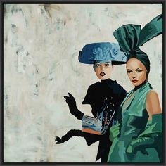ESCORTS 28L X 28H Floater Framed Art Giclee Wrapped Canvas