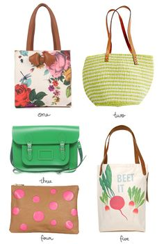 """{ ONE } 'flowee' mini printed shopper from ted baker    { TWO } bamboula ltd beach bag from madewell    { THREE } cambridge satchel company green 14"""" satchel from asos    { FOUR } spot colour block clutch from topshop    { FIVE } 'beet it' organic tote from fluffyco"""