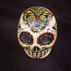 Hand painted skull! Medium size  6,5 x 5,5 cm