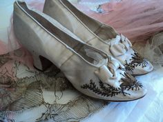 Antique Silk Metallic Bullion Embroidered Louis Heel Shoes French Court Wedding Ball. $425.00, via Etsy.