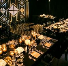 Black and Gold Everything -     30th Birthday Party   Art Deco   30 Rocks   White Lilac Inc.