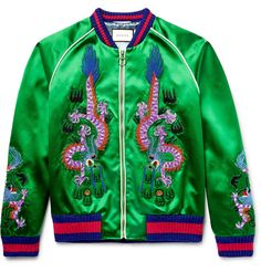 Gucci - Appliquéd Silk-Satin Bomber Jacket